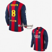 Fc Barcelone Maillot 2015 Iniesta Domicile Rouge/bleu manches longues