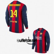Maillot Barcelone messi 2015 Mascherano Domicile Rouge/bleu manches longues