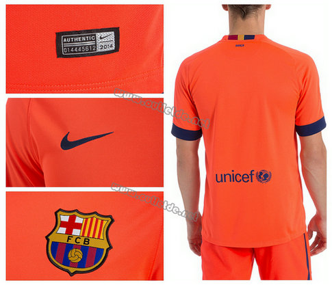 Flocage maillot de foot fc barcelone 2015 ext rieur orange for Maillot exterieur barcelone 2014