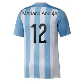 Maillot De Foot Argentin Equipe Nationale Domicile 2015 2016 (12 Mariano Andujar) V-cou Bleu Blanc